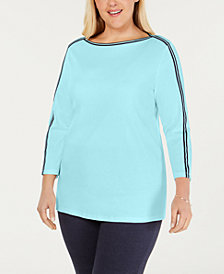 Charter Club Plus Size Cotton Athletic-Trim Top, Created for Macy's