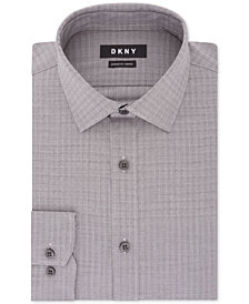 DKNY Men's Classic/Regular Fit Stretch Gray Check Dress Shirt