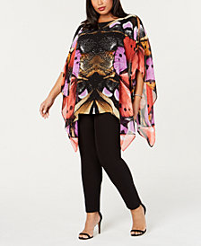 JM Collection Plus Size Printed Chiffon Top, Created for Macy's