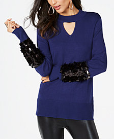 Thalia Sodi Sequined Mock-Neck Sweater, Created for Macy's