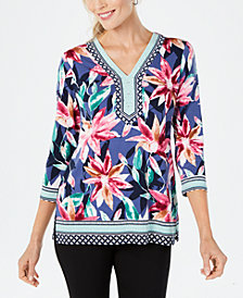 JM Collection Studded Printed Tunic, Created for Macy's