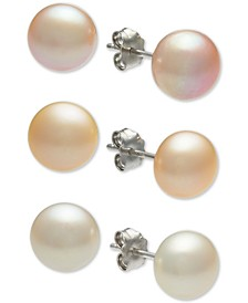 3-Pc. Set White, Pink & Peach Cultured Freshwater Button Pearl (8mm) Stud Earrings in Sterling Silver