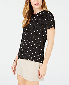 Maison Jules Polka-Dot Button-Back Top, Created for Macy's