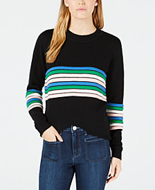 Maison Jules Novelty-Striped Sweater, Created for Macy's