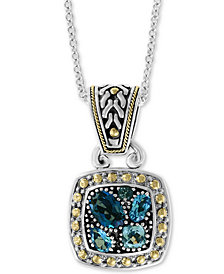 "EFFY® Blue Topaz 18"" Pendant Necklace (1-9/10 ct. t.w.) in Sterling Silver & 18k Gold"