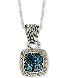 """EFFY® Blue Topaz 18"""" Pendant Necklace (1-9/10 ct. t.w.) in Sterling Silver & 18k Gold"""