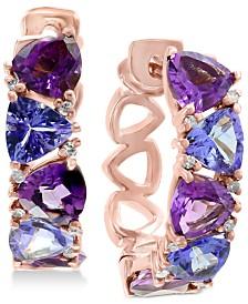 EFFY® Amethyst (2-1/5 ct. t.w.), Tanzanite (2 ct. t.w.) & Diamond Accent Hoop Earrings in 14k Rose Gold