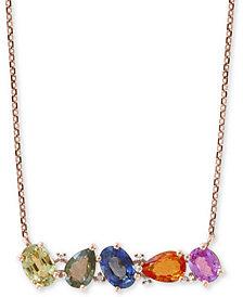 """EFFY Multi-Sapphire (2-1/2 ct. t.w.) & Diamond Accent 18"""" Pendant Necklace in 14k Gold"""