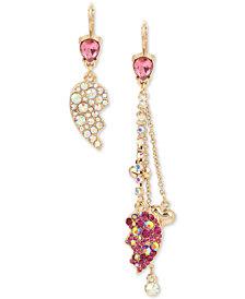 Betsey Johnson Gold-Tone Crystal Broken Heart Mismatch Drop Earrings