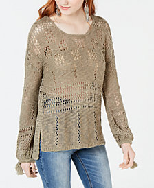 American Rag Juniors' Open-Knit High-Low Sweater, Created for Macy's