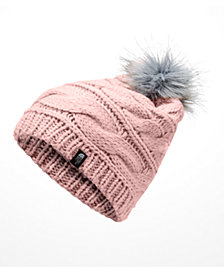 The North Face Faux-Fur-Pom Cable-Knit Beanie