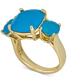Blue Agate Three Stone Ring in 14k Gold-Plated Sterling Silver (Also in Onyx, Green Agate, Pink Agate & White Agate)