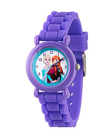 Disney Frozen Elsa and Anna Girls' Purple Plastic Time Teacher Watch