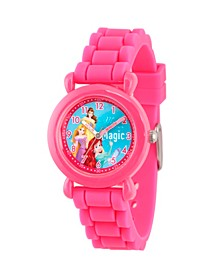 Disney Princess Ariel, Belle and Rapunzel Girls' Pink Plastic Time Teacher Watch