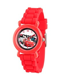 Disney Cars Lightning McQueen Boys' Red Plastic Time Teacher Watch
