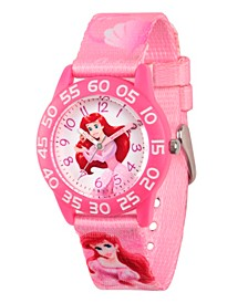 Disney Princess Ariel Girls' Pink Plastic Time Teacher Watch