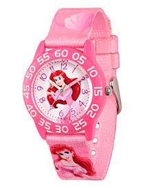 Disney Princess Ariel Girls' Pink Plastic Time Teacher Watch