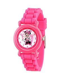 Disney Minnie Mouse Girls' Pink Plastic Time Teacher Watch