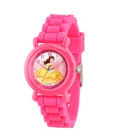 Disney Princess Belle Girls' Pink Plastic Time Teacher Watch