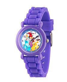 Disney Princess Ariel, Belle, Rapunzel, Cinderella Girls' Purple Plastic Time Teacher Watch