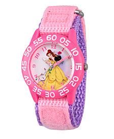 Disney Princess Belle Girls' Pink Plastic Time Teacher Watch