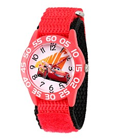 Disney Cars 3 Lightning McQueen Boys' Red Plastic Time Teacher Watch