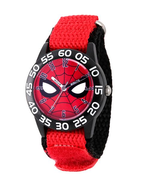 ewatchfactory Marvel Spider-Man Boys' Black Plastic Time Teacher Watch