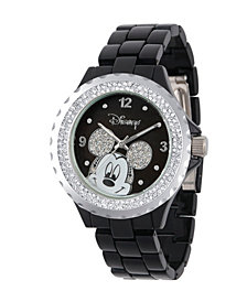 Disney Mickey Mouse Women's Black Enamel Sparkle Alloy Watch