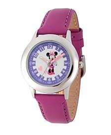 Disney Minnie Mouse Girls' Stainless Steel Time Teacher Watch