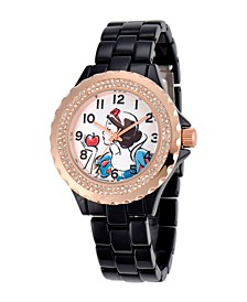 Disney Snow White Women's Black and Rosegold Enamel Sparkle Alloy Watch