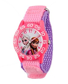 Disney Frozen Elsa & Anna Girls' Pink Plastic Time Teacher Watch