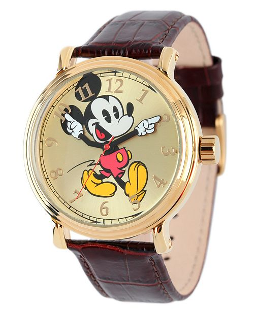 ewatchfactory Disney Mickey Mouse Men's Shiny Gold Vintage Alloy Watch