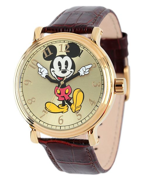 Mickey Mouse Watch Value >> Disney Mickey Mouse Men S Shinny Gold Vintage Alloy Watch