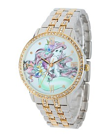 Disney Ariel  Women's Two Tone Silver and  Gold Alloy Watch With Glitz