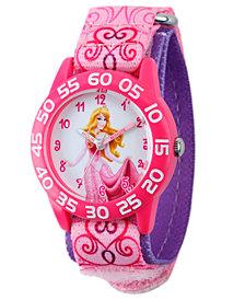 Disney Aurora Girls' Pink Plastic Time Teacher Watch