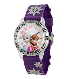 Disney Frozen Elsa and Anna Girls' Plastic Time Teacher Watch