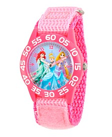 Disney Princess Ariel, Cinderella and Rapunzel Girls' Pink Plastic Time Teacther Watch