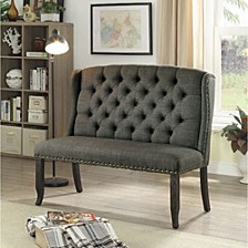 Tufted High Back 2-Seater Love Seat Bench With Nailhead Trims