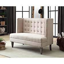 Button Tufted Wingback Design Love Seat Bench With Padded Upholstery