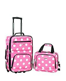 Rockland 2PCE Pink Dots Softside Luggage Set