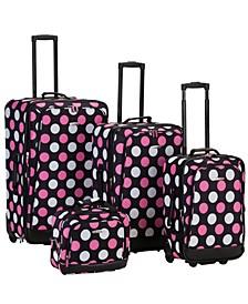 4PCE Black/Pink Dots Softside Luggage Set