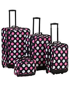 Rockland 4PCE Black/Pink Dots Softside Luggage Set