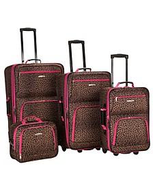 4PCE Pink Leopard Softside Luggage Set