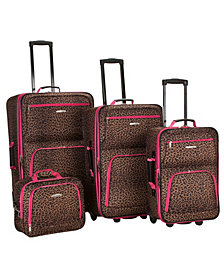 Rockland 4-Piece Pink Leopard Luggage Set