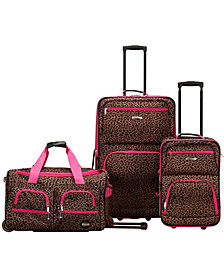 Rockland Leopard 3PCE Softside Luggage Set