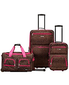 Rockland Leopard 3PCE Softside Luggage Set