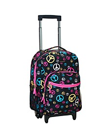 """Peace Signs 17"""" Rolling Backpack"""