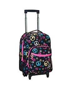 "Rockland Peace Signs 17"" Rolling Backpack"
