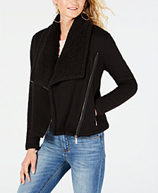 GUESS Asymmetrical Sherpa-Lined Jacket