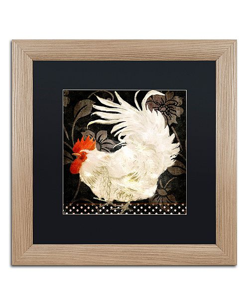 "Trademark Global Color Bakery 'Rooster Damask I' Matted Framed Art, 16"" x 16"""